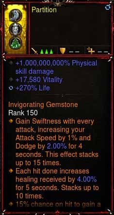 [Primal Ancient] 1-70 1000000000% Modded Ring 17k Vit, 270% Life Partition