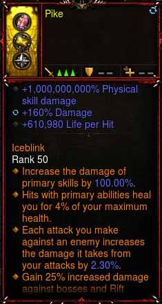 [Primal Ancient] 1-70 1000000000% Modded Ring 160% Damage, 610,980 LPH, 46% CDR Pike