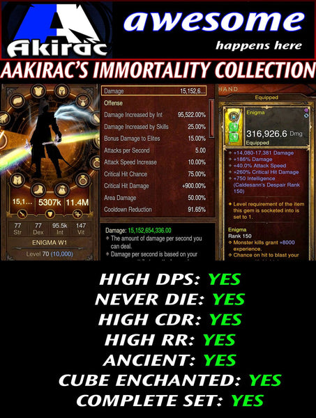 Immortality v1 Tal Rasha Wizard Set for Rift 80-130 Enigma-Diablo 3 Mods - Playstation 4, Xbox One, Nintendo Switch