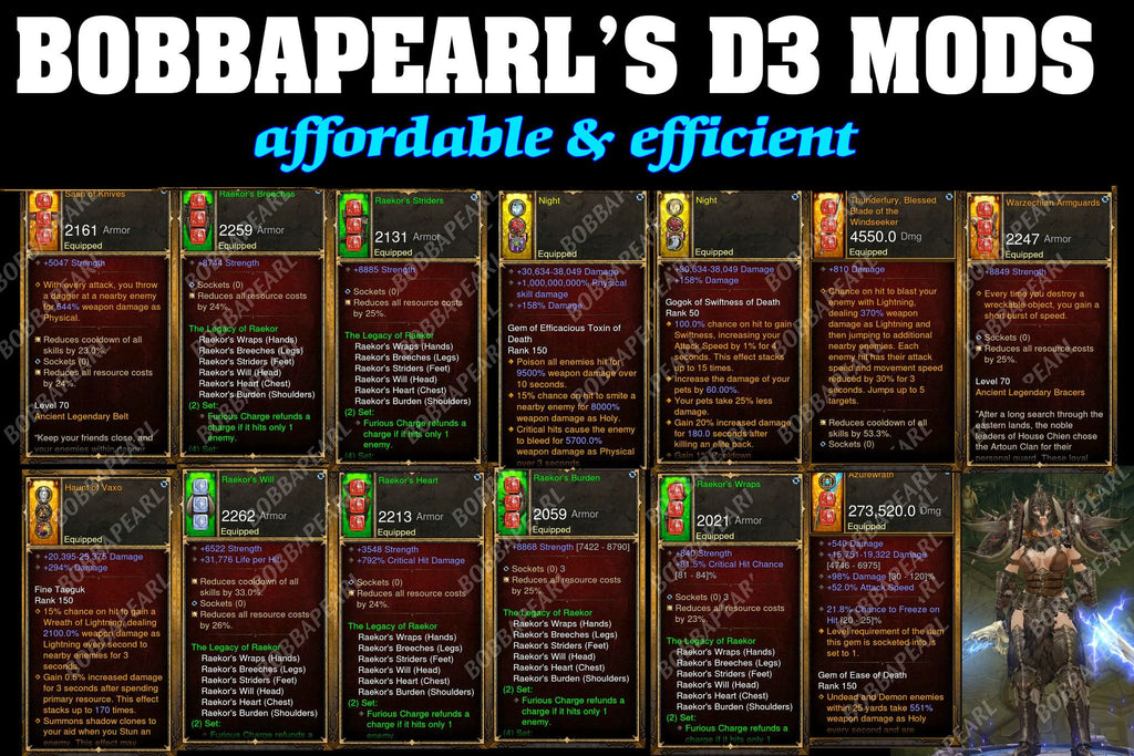 BobbaPearl's Raekor Barbarian Set for GRIFT 150 #B4-Diablo 3 Mods - Playstation 4, Xbox One, Nintendo Switch