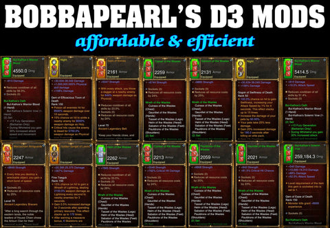 BobbaPearl's Waste Barbarian Set for GRIFT 150 #A4-Diablo 3 Mods - Playstation 4, Xbox One, Nintendo Switch