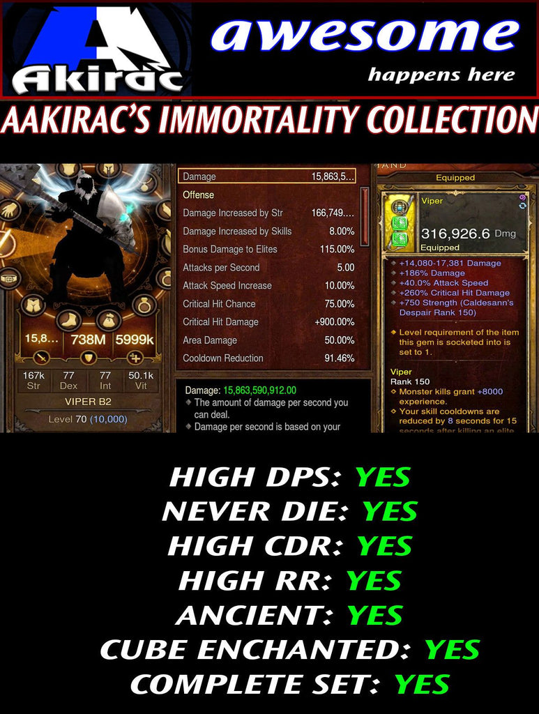 Immortality v1 Raekor Barbarian Modded Set for Rift 150 Viper-Diablo 3 Mods - Playstation 4, Xbox One, Nintendo Switch