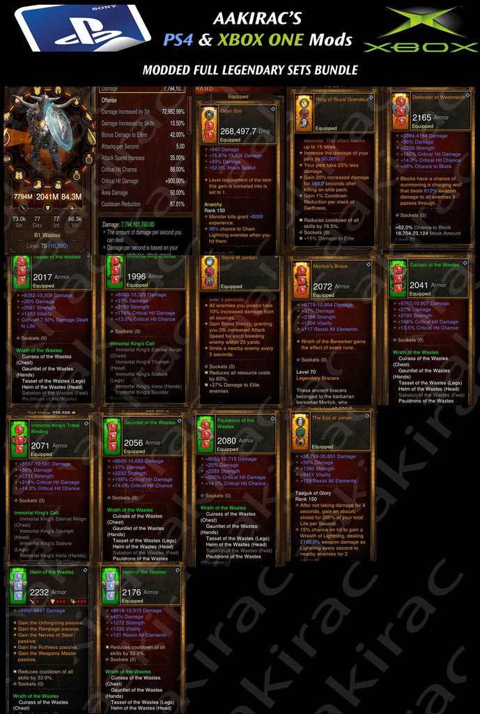Bundled Deal #1: 4x MODDED Classes 56x Items Total - Barbarian, Demon Hunter, Monk, Witch Doctor-Diablo 3 Mods - Playstation 4, Xbox One, Nintendo Switch