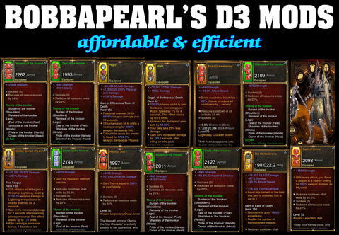 Bobbapearl's Invoker Crusader Set for GRIFT 150 #A1-Diablo 3 Mods - Playstation 4, Xbox One, Nintendo Switch