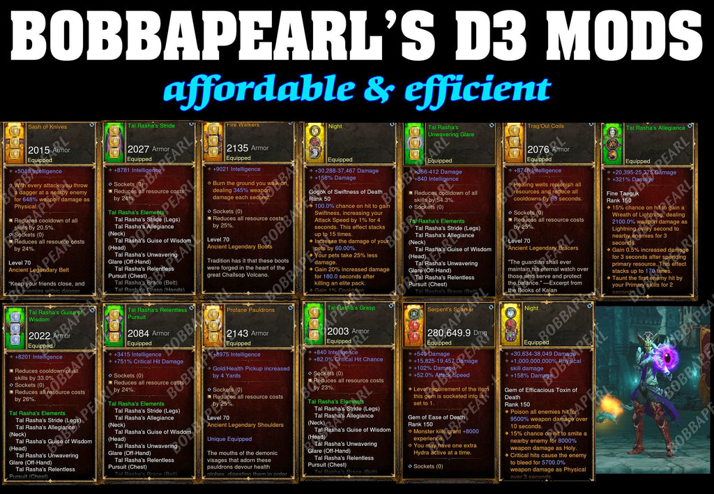 Bobbapearl's Tal Rasha Wizard Set for GRIFT 150 #B8-Diablo 3 Mods - Playstation 4, Xbox One, Nintendo Switch