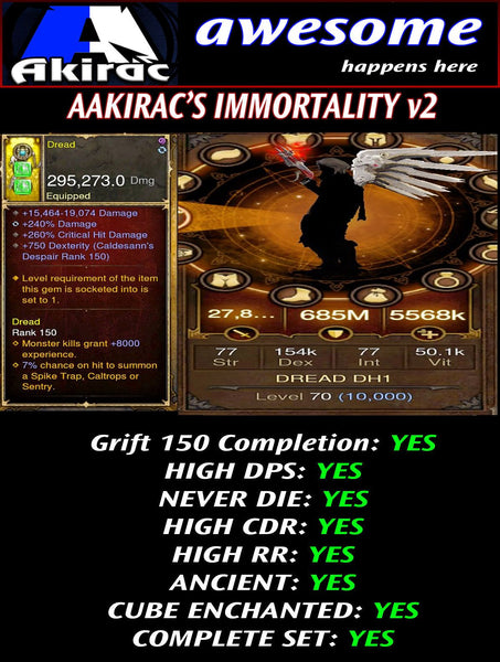 Immortality v2 Unhallow Demon Hunter Modded Set for Rift 150 Dread-Diablo 3 Mods - Playstation 4, Xbox One, Nintendo Switch