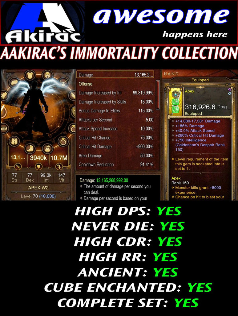 Immortality v1 Vyrs Wizard Set for Rift 80-130 Apex-Diablo 3 Mods - Playstation 4, Xbox One, Nintendo Switch