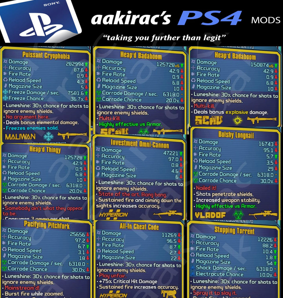 modded borderlands 2 weapon codes