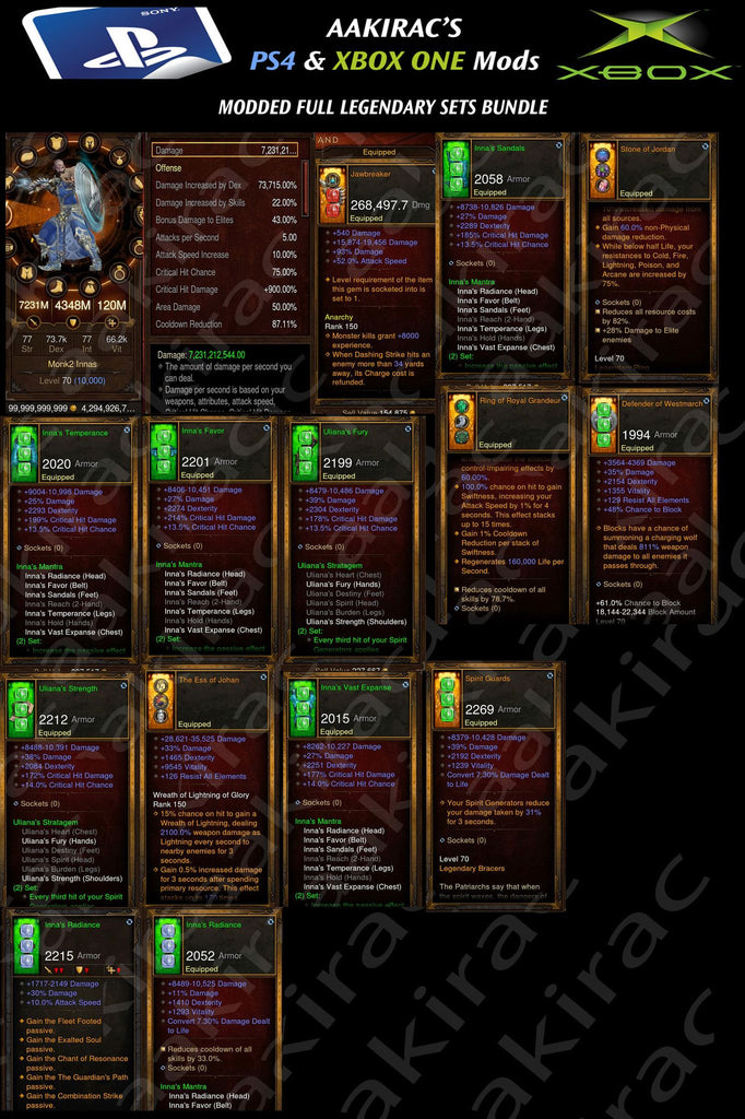 Bundled Deal #3: 4x MODDED Classes 56x Items Total - Monk, Demon Hunter, Witch Doctor, Wizard-Diablo 3 Mods - Playstation 4, Xbox One, Nintendo Switch