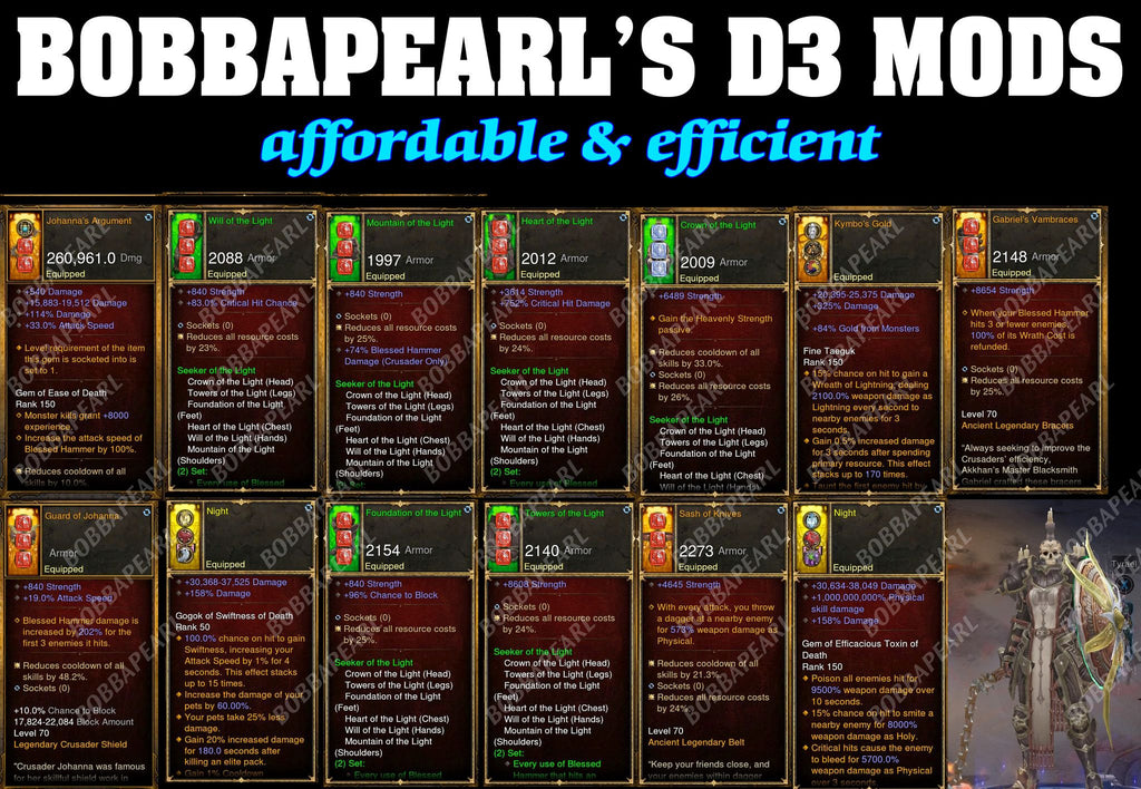 BobbaPearl's Light Crusader Set for GRIFT 150 #B1-Diablo 3 Mods - Playstation 4, Xbox One, Nintendo Switch