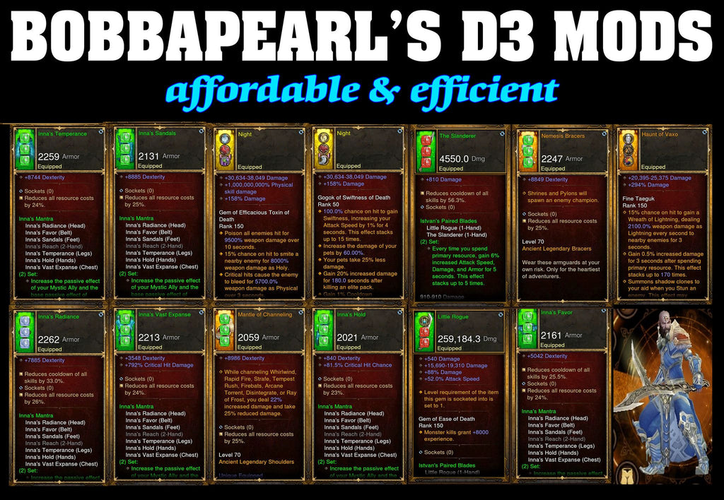 Bobbapearl's Inna's Monk Set for GRIFT 150 #A3-Diablo 3 Mods - Playstation 4, Xbox One, Nintendo Switch