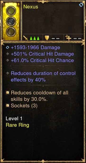 2.5.0 Level 1 Ring Nexus 501% CHD, 61% CC + More (Unsocketed)-Diablo 3 Mods - Playstation 4, Xbox One, Nintendo Switch