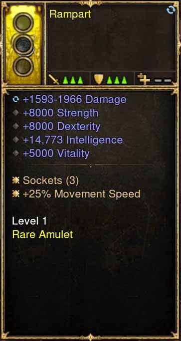 2.5.0 Level 1 Amulet Rampart 14k INT, Movement Speed + More (Unsocketed)-Diablo 3 Mods - Playstation 4, Xbox One, Nintendo Switch