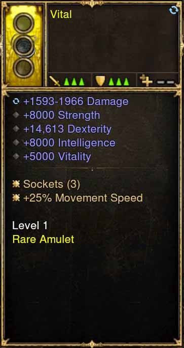 2.5.0 Level 1 Amulet Vital 14k Dex, Movement Speed + More (Unsocketed)-Diablo 3 Mods - Playstation 4, Xbox One, Nintendo Switch
