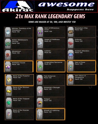 21x Legendary Gems (Max Rank, Unmodded)-Diablo 3 Mods - Playstation 4, Xbox One, Nintendo Switch
