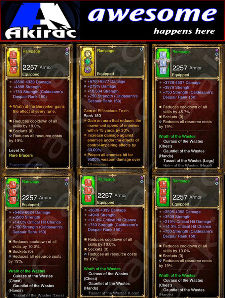 Immortality v1 Waste Barbarian Modded Set for Rift 150 Rampage-Diablo 3 Mods - Playstation 4, Xbox One, Nintendo Switch