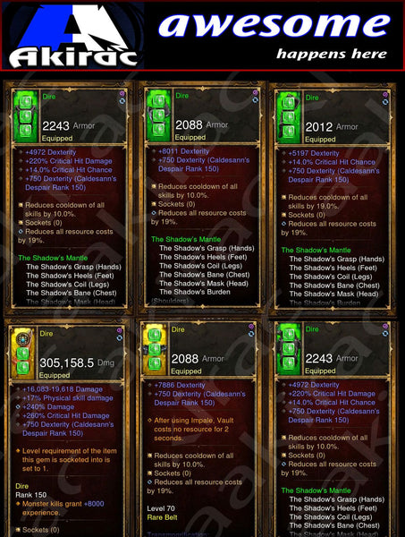 Immortality v2 Shadow Mantle Demon Hunter Modded Set for Rift 150 Dire-Diablo 3 Mods - Playstation 4, Xbox One, Nintendo Switch