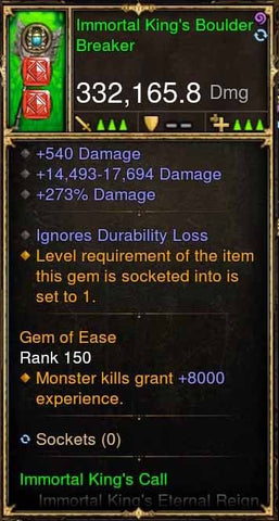Immortal King's Boulder Breaker 332k Actual DPS Modded Weapon-Diablo 3 Mods - Playstation 4, Xbox One, Nintendo Switch