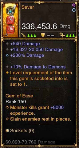 Sever 336k Actual DPS Modded Weapon-Diablo 3 Mods - Playstation 4, Xbox One, Nintendo Switch