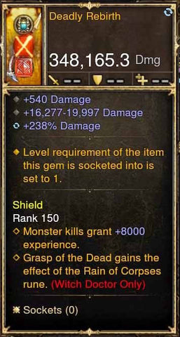 Deadly Rebirth 348k Actual DPS Modded Weapon-Diablo 3 Mods - Playstation 4, Xbox One, Nintendo Switch