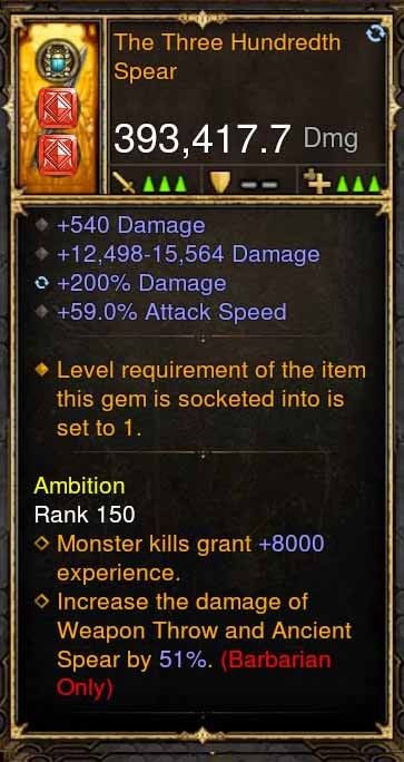 The Three Hundredth Spear 393k Modded Weapon-Diablo 3 Mods - Playstation 4, Xbox One, Nintendo Switch