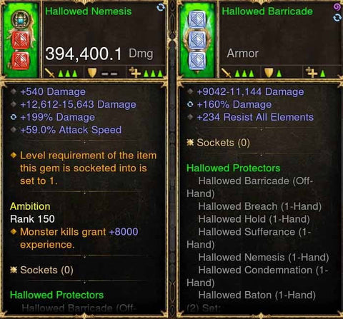 Hallowed Protectors 394k Modded Weapon + Shield-Diablo 3 Mods - Playstation 4, Xbox One, Nintendo Switch