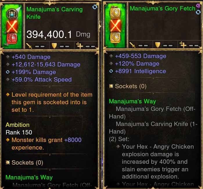 Manajuma Combo 394k Modded Weapon + Mojo-Diablo 3 Mods - Playstation 4, Xbox One, Nintendo Switch