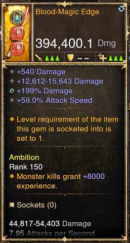 Blood-Magic Edge 394k Modded Weapon-Diablo 3 Mods - Playstation 4, Xbox One, Nintendo Switch
