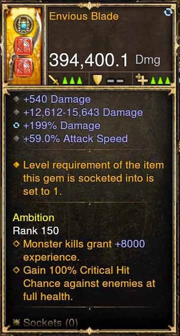 Envious Blade 394k Modded Weapon-Diablo 3 Mods - Playstation 4, Xbox One, Nintendo Switch