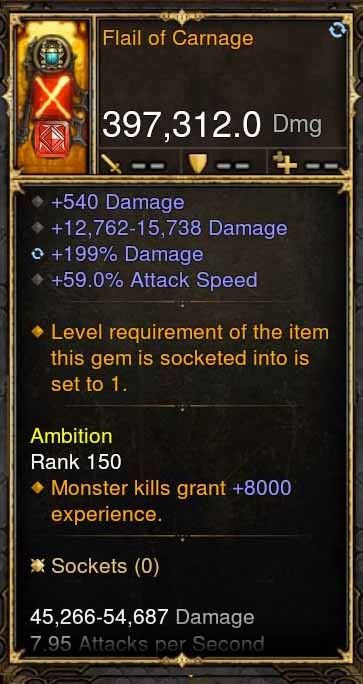 Flail of Carnage 397k Modded Weapon-Diablo 3 Mods - Playstation 4, Xbox One, Nintendo Switch
