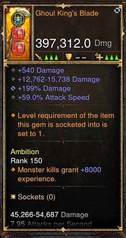 Ghoul Kings Blade 397k Modded Weapon-Diablo 3 Mods - Playstation 4, Xbox One, Nintendo Switch