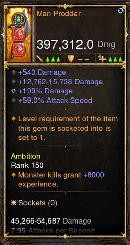 Man Prodder 397k Modded Weapon-Diablo 3 Mods - Playstation 4, Xbox One, Nintendo Switch