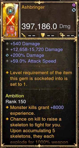 Ashbringer RARE UNCORRUPTED 397k Sword Modded Weapon-Diablo 3 Mods - Playstation 4, Xbox One, Nintendo Switch