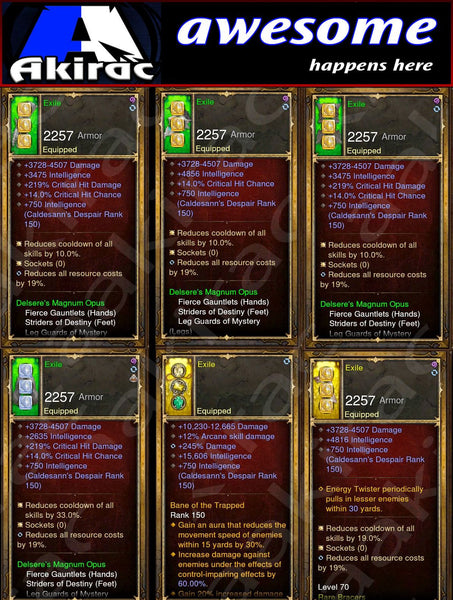 Immortality v1 Magnum Opus Wizard Set for Rift 80-130 Exile-Diablo 3 Mods - Playstation 4, Xbox One, Nintendo Switch