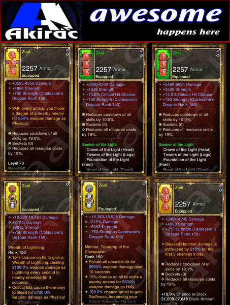 Immortality v1 Light Crusader Modded Set for Rift 150 Zeal-Diablo 3 Mods - Playstation 4, Xbox One, Nintendo Switch