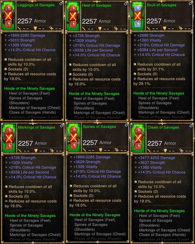 6x Piece Patch 2.6.8 Savages Barbarian Set