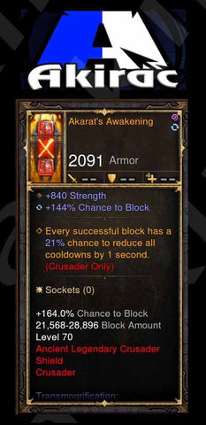 Akarat's Awakening w/ 144% Block Chance Modded Shield Crusader-Diablo 3 Mods - Playstation 4, Xbox One, Nintendo Switch