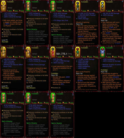 [Primal Ancient] [Quad DPS] [LIMITED] Diablo 3 IMv5 Arachyr Witch Doctor Set Forbidden W1