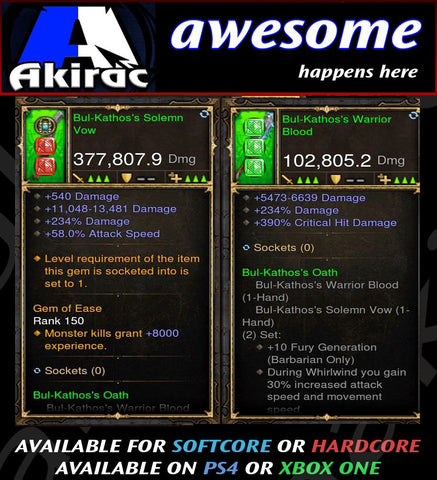 Bul-Kathos Mighty Sword Combo 377k / 102k Modded Weapon-Diablo 3 Mods - Playstation 4, Xbox One, Nintendo Switch