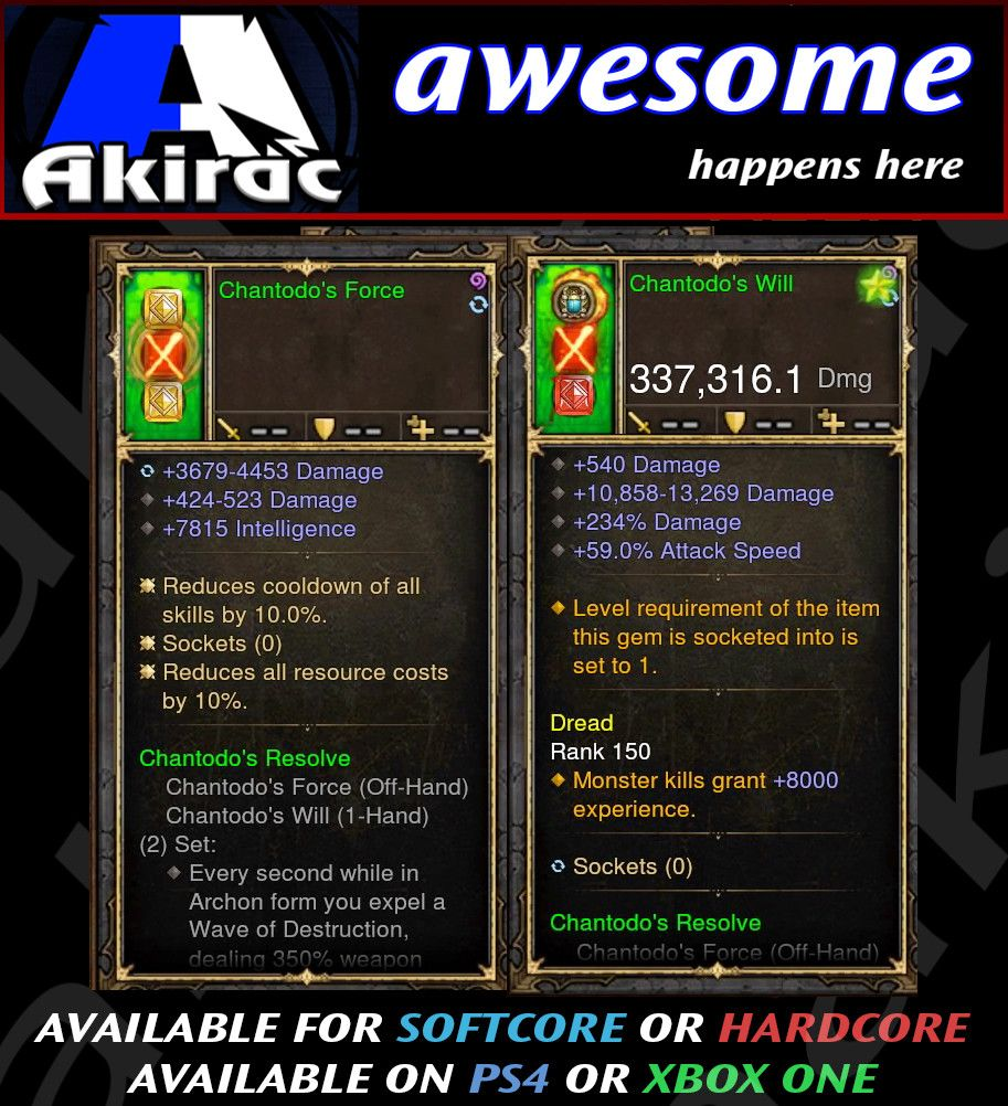 Chantodo's Will + Sorce Offhand Combo 337k Modded Weapon-Diablo 3 Mods - Playstation 4, Xbox One, Nintendo Switch