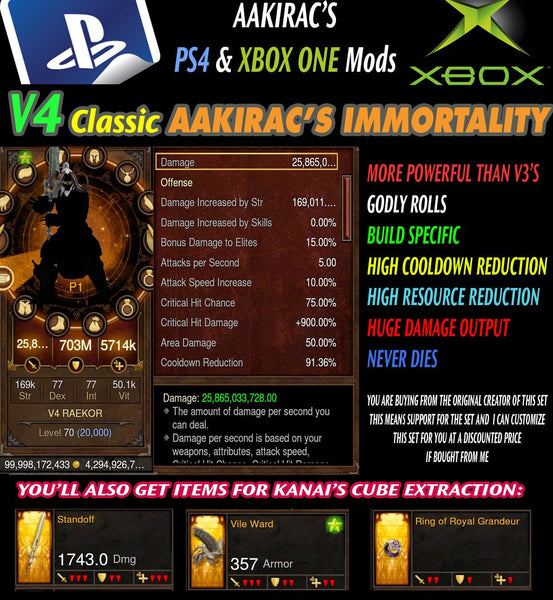 Immortality v4 Classic Raekor Barbarian Modded Set for Rift 150 Ravager-Diablo 3 Mods - Playstation 4, Xbox One, Nintendo Switch