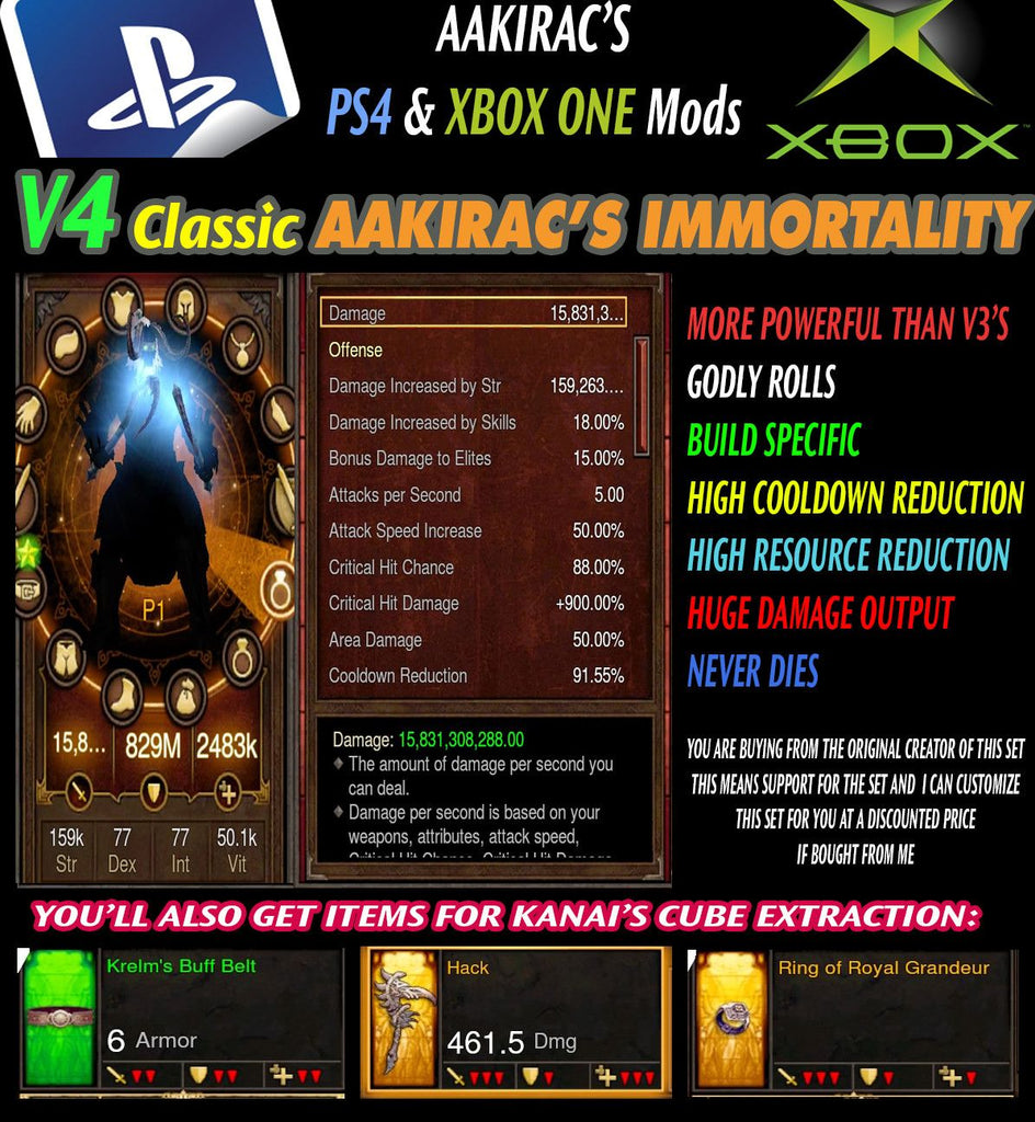 Immortality v4 Classic Immortal Kings Barbarian Modded Set for Rift 150 Sacred-Diablo 3 Mods - Playstation 4, Xbox One, Nintendo Switch
