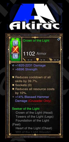 Crown of the Light 6.8k STR, 14% Blessed Hammer Damage Modded Set Helm Crusader-Diablo 3 Mods - Playstation 4, Xbox One, Nintendo Switch