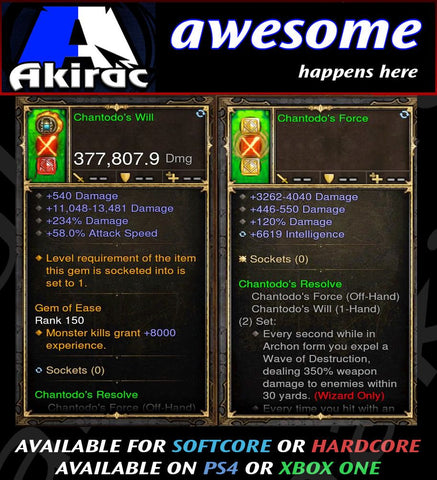 Chantodo's Will + Sorce Offhand Combo 377k Modded Weapon-Diablo 3 Mods - Playstation 4, Xbox One, Nintendo Switch