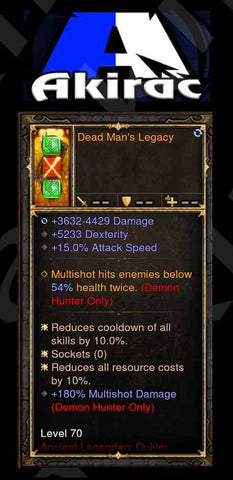 Dead Man's Legacy 5.3k Dex Modded Quiver Offhand Demon Hunter-Diablo 3 Mods - Playstation 4, Xbox One, Nintendo Switch