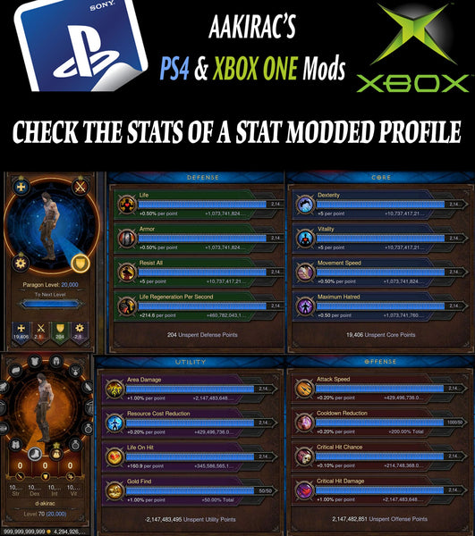 12x EXTREME Stat Modded Characters w/ Materials and Pets Bundle-Diablo 3 Mods - Playstation 4, Xbox One, Nintendo Switch