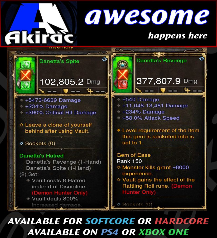 Danetta's Revenge Combo 377k / 102k Modded Weapon-Diablo 3 Mods - Playstation 4, Xbox One, Nintendo Switch