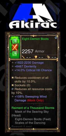 Eight-Demon Boots 108% Sweeping Wind Damage, 6k Dex Modded Set Monk-Diablo 3 Mods - Playstation 4, Xbox One, Nintendo Switch