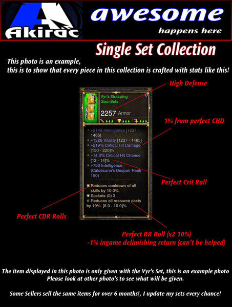 6x Piece Delsere Magnum Opus Wizard Set-Diablo 3 Mods - Playstation 4, Xbox One, Nintendo Switch