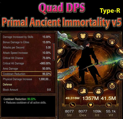 [Primal Ancient] [Quad DPS] Immortality v5 Type-R Tal Rasha 99% CDR Entity-Diablo 3 Mods - Playstation 4, Xbox One, Nintendo Switch